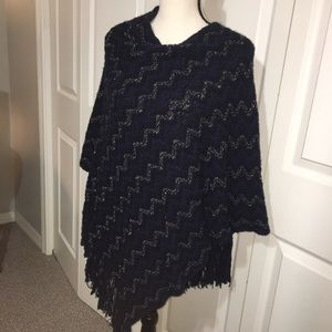 Sweaters - Navy & gold poncho sweater